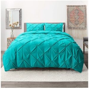 Set Of 3  Pinch Pleat Duvet Cover 2 Pillow Shams